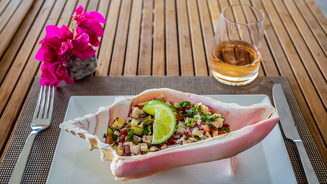 Conch Salad At BLU Bar And Grill At East Bay Resort South Caicos, Turks And Caicos
