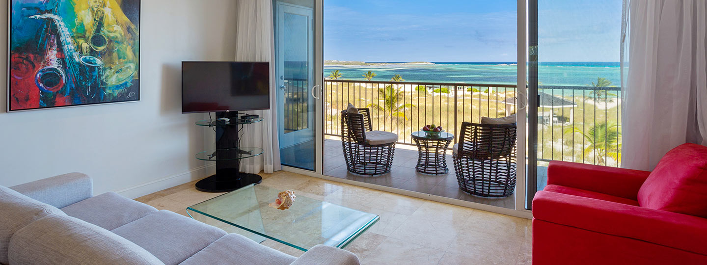 Two Bedroom Deluxe Beachfront Living Room At East Bay Resort South Caicos, Turks And Caicos