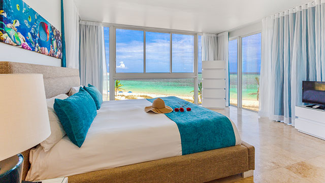 Two Corner Beachfront Suite Master Bedroom At East Bay Resort South Caicos, Turks And Caicos