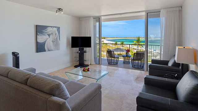Two Corner Beachfront Suite Living Room At East Bay Resort South Caicos, Turks And Caicos