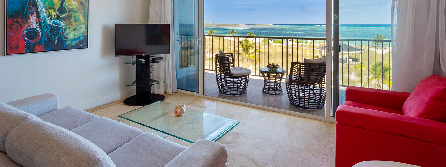 2 Bedroom Deluxe Beachfront Suite Living Room at East Bay Resort South Caicos, Turks And Caicos