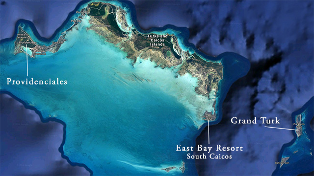 Map of East Bay Resort on south Caicos