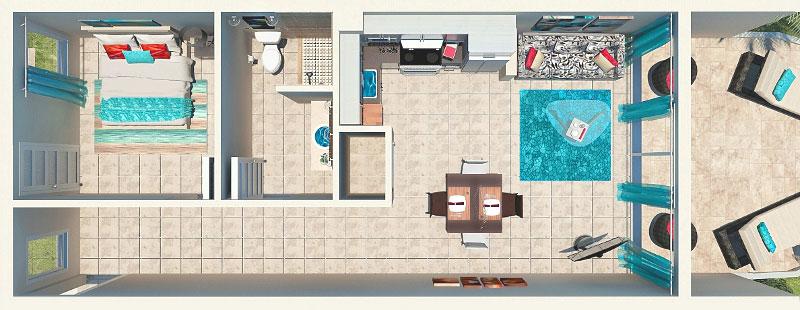 1 Bedroom Beachfront Suite 1st Floor Floor Plan