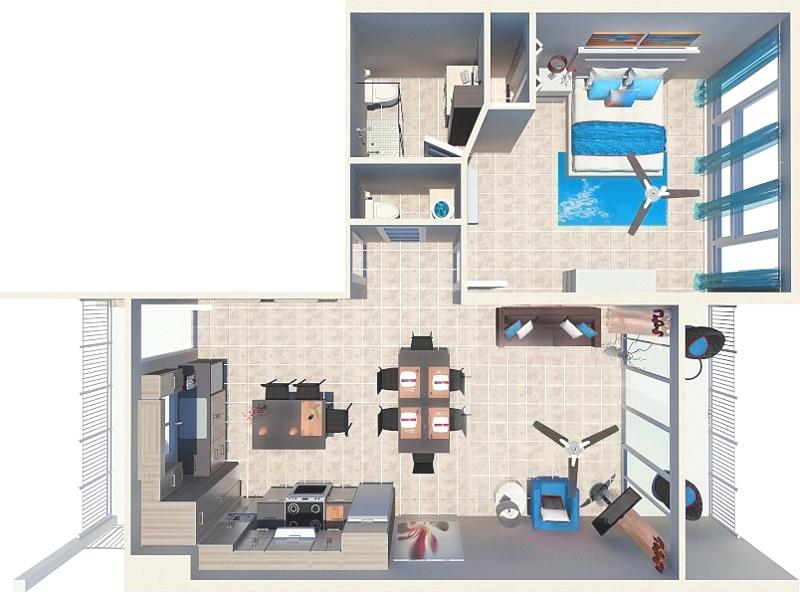 1 Bedroom Deluxe Beachfront Suite Floor Plan