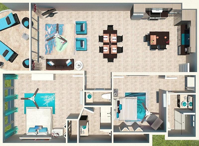 Two Bedroom Deluxe Beachfront Floor Plan