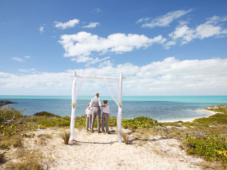 The Groom And His Two Sons Wait For The Bride At East Bay Resort