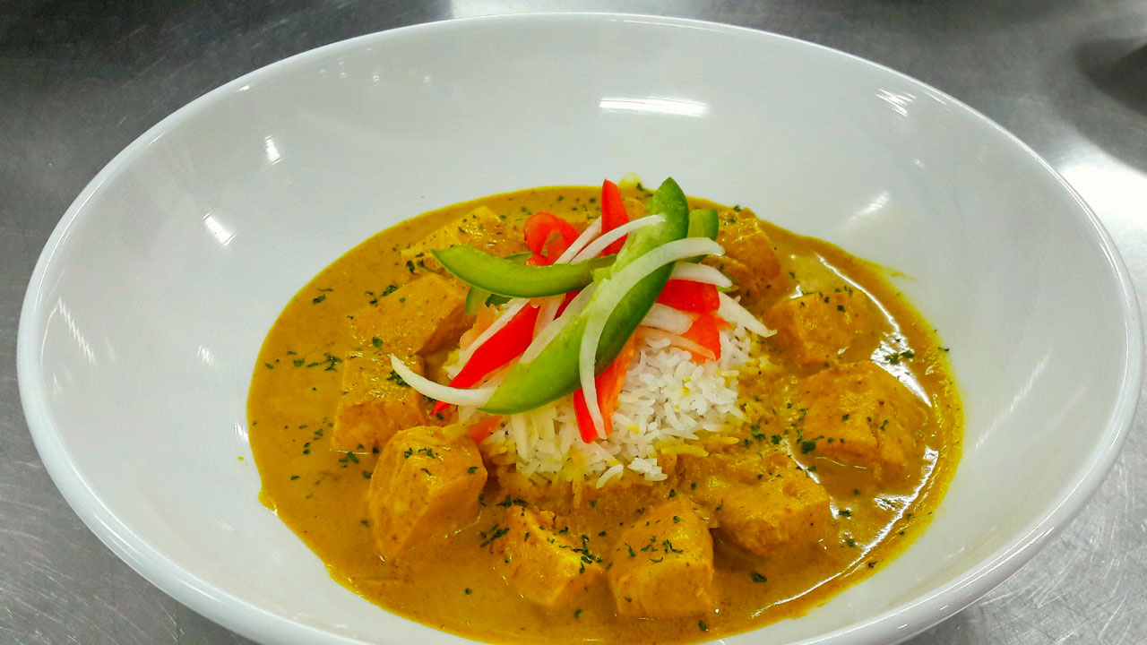 Red Thai Curry with local Mahi Mahi at BLU Bar and Grill