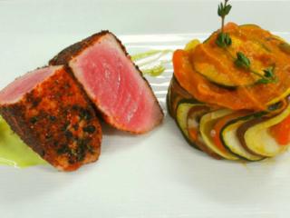 Shichimi Crusted Tuna with Basil, Yuzu Mayo Served With Confit Byaldi