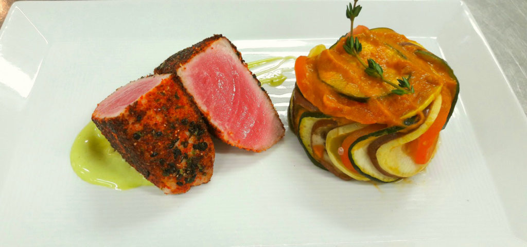 Shichimi Crusted Tuna with Basil, Yuzu Mayo Served With Confit Byaldi