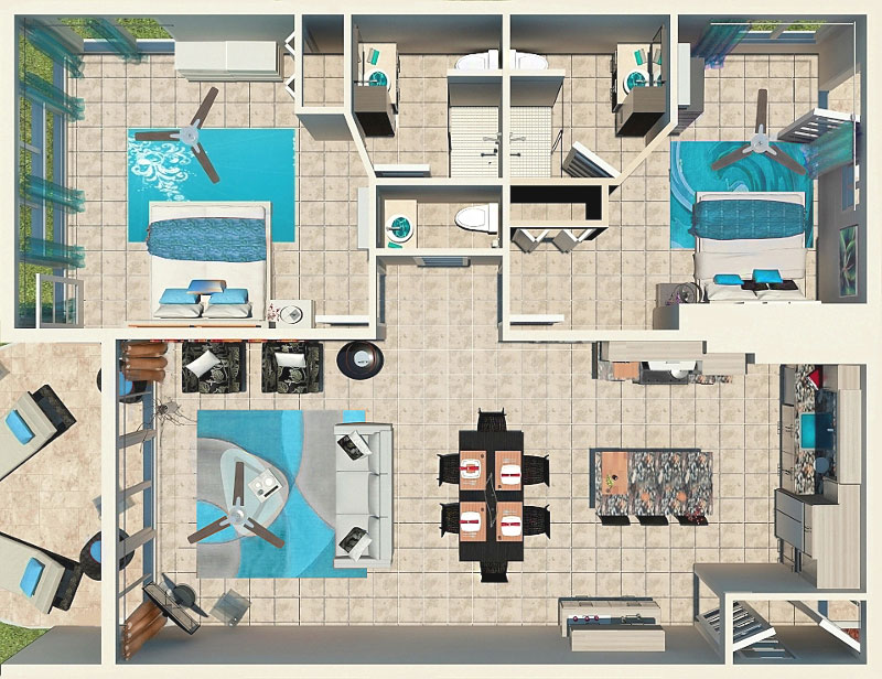 2 Bedroom Corner Beachfront Floor Plan at East Bay Resort South Caicos