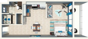 Beachfront Suite Floor Plan at East Bay Resort South Caicos