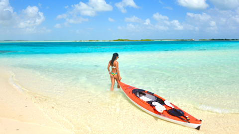 Kayaking at East Bay Beach South Caicos, Turks and Caicos